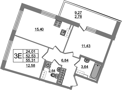 3Е-к.кв, 52.53 м²