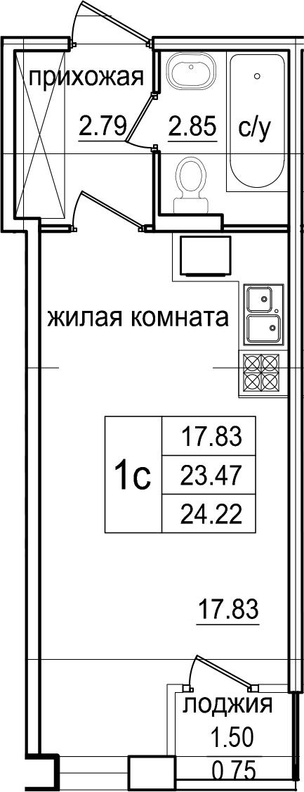Студия, 24.22 м², 1 этаж