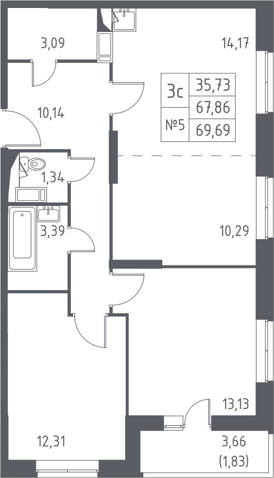 3Е-к.кв, 69.69 м²