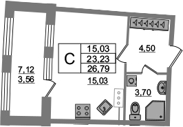 Студия, 23.23 м², 3 этаж