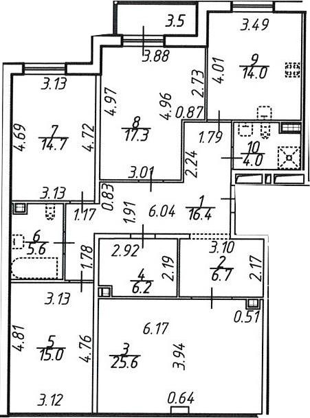 4-к.кв, 163.1 м²