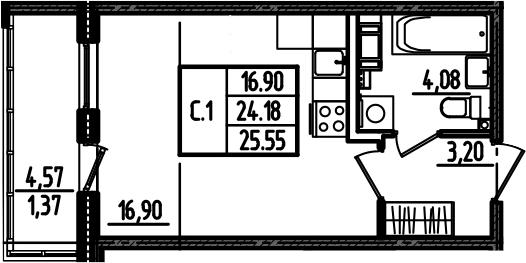 Студия, 28.75 м²