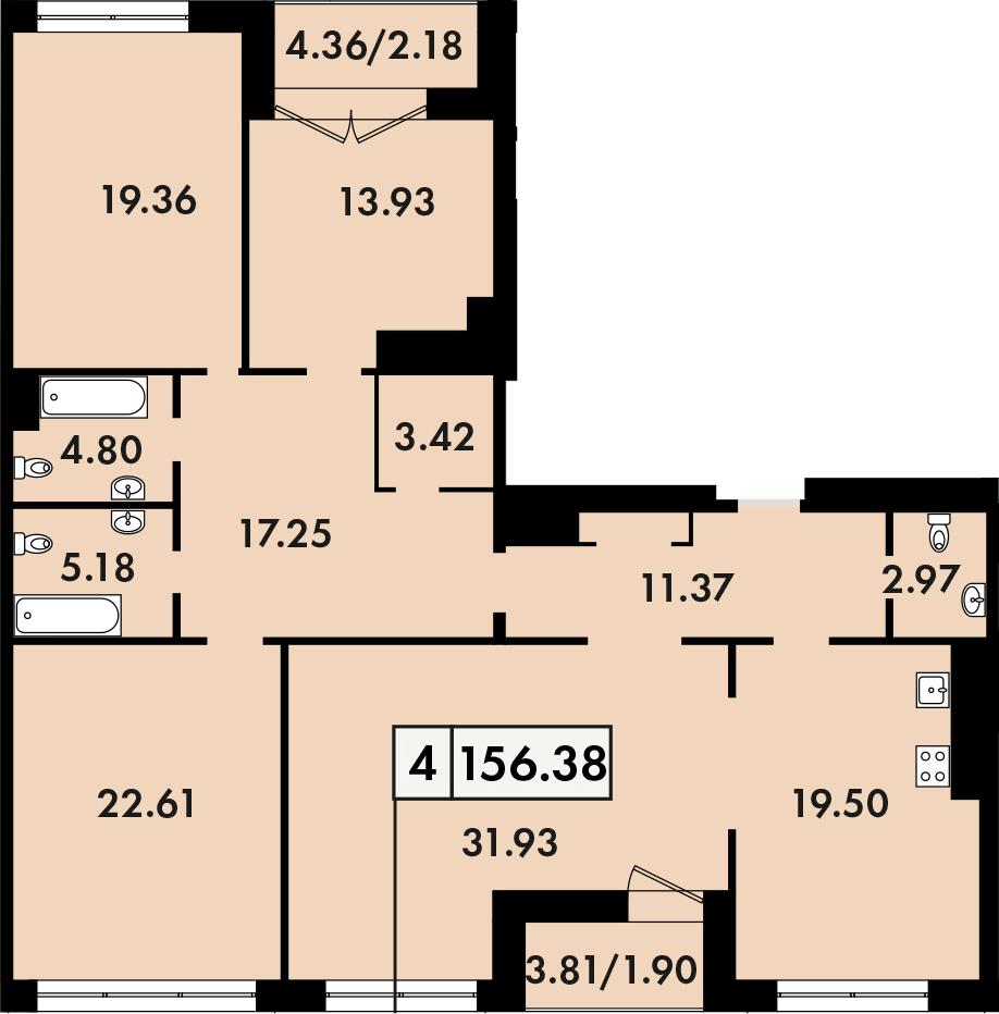 4-комнатная, 156.38 м²– 2