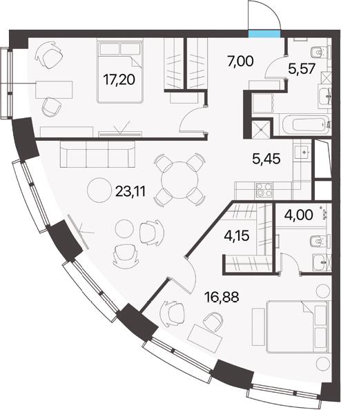 3Е-к.кв, 83.36 м², 13 этаж