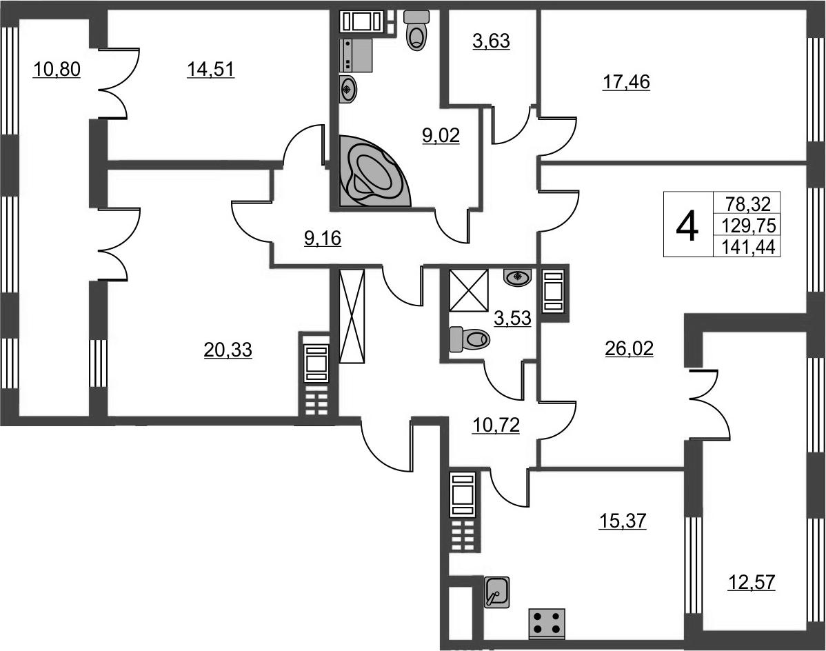 4-комнатная, 129.75 м²– 2