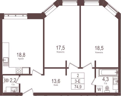 3-к.кв (евро), 74.9 м²