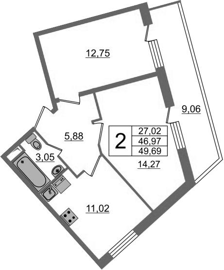 2-к.кв, 56.03 м²