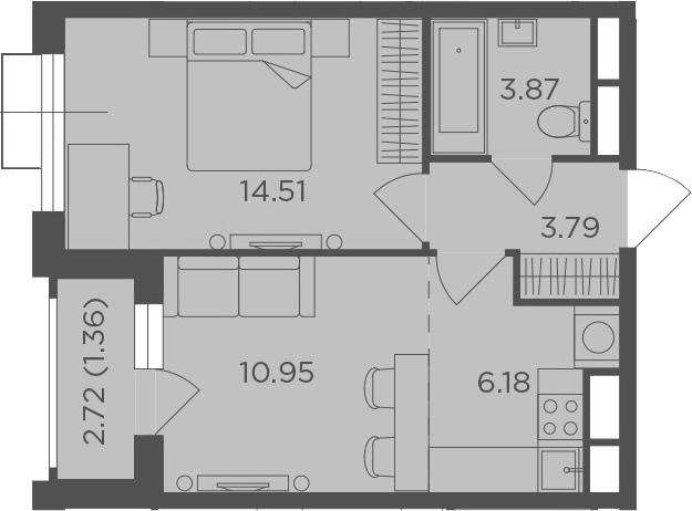 2Е-к.кв, 40.66 м², 8 этаж