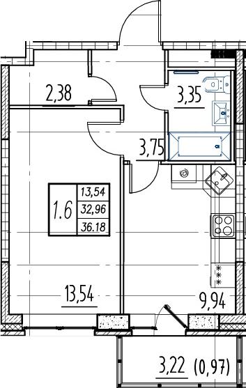 1-комнатная квартира, 32.96 м², 16 этаж – Планировка