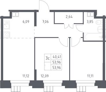 3Е-комнатная, 53.96 м²– 2