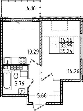 1-к.кв, 35.24 м², 5 этаж