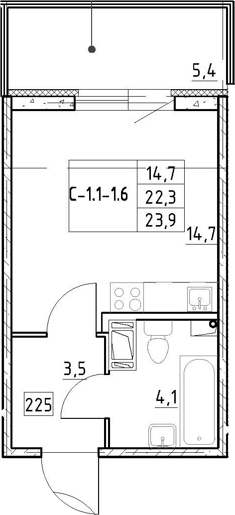 Студия, 27.68 м²