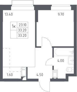 1-комнатная квартира, 33.2 м², 12 этаж – Планировка