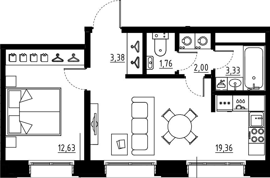 2Е-комнатная, 42.46 м²– 2
