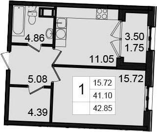 1-комнатная, 42.85 м²– 2