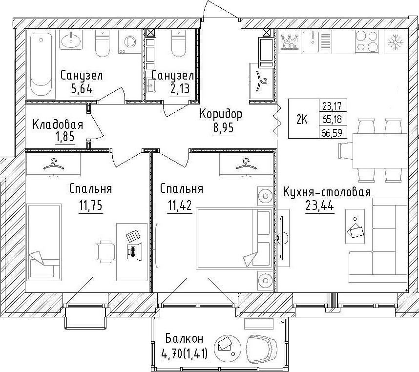 2-к.кв, 69.88 м²