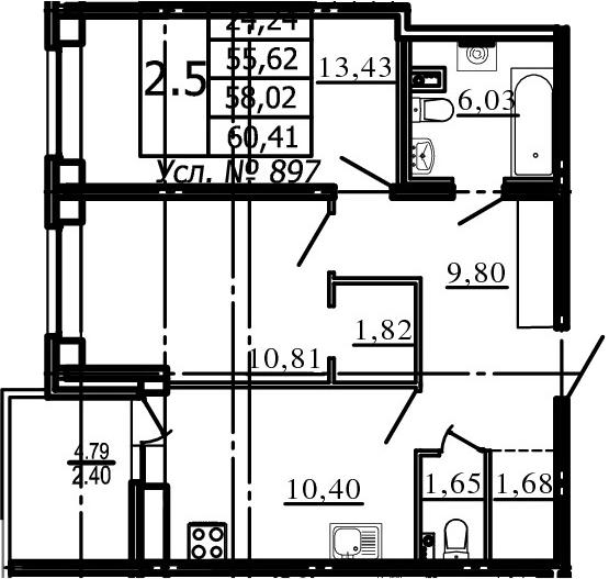 2-к.кв, 55.62 м², 1 этаж