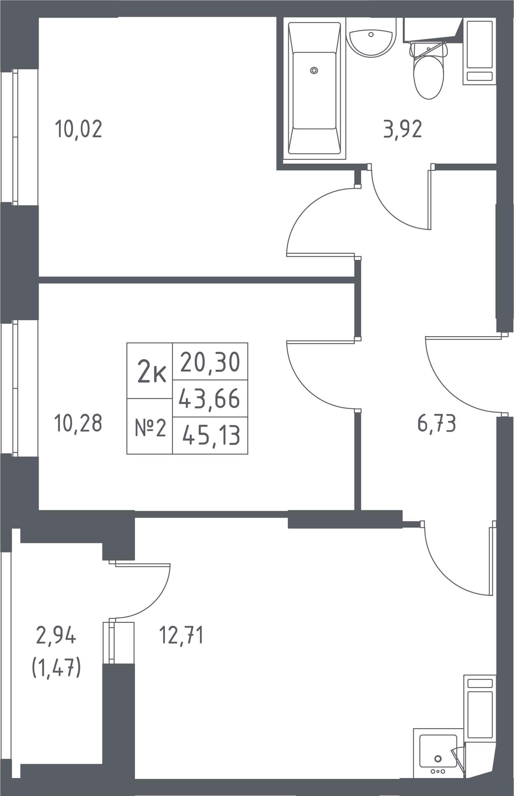 2-к.кв, 45.13 м²