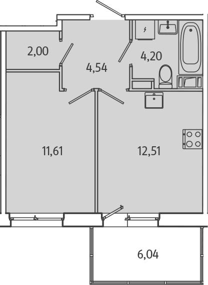 1-комнатная, 36.67 м²– 2