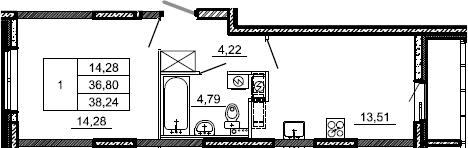 1-комнатная, 38.24 м²– 2