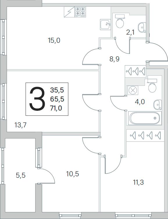 4Е-к.кв, 65.5 м², 3 этаж