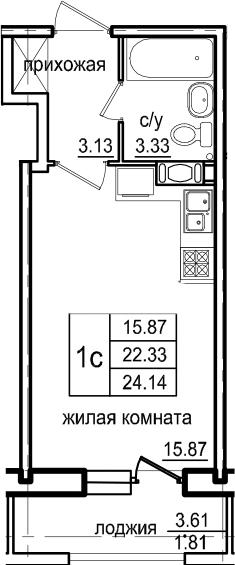 Студия, 24.14 м², от 7 этажа
