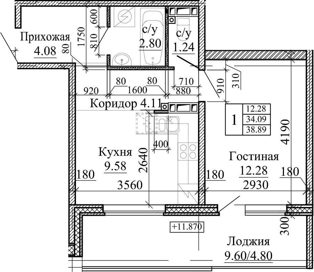 1-комнатная, 38.89 м²– 2