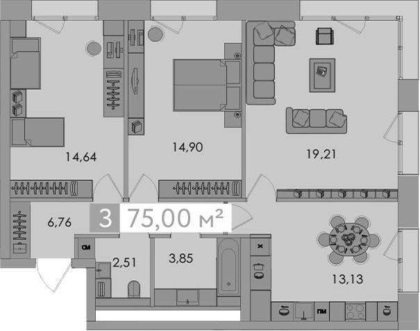 3-к.кв, 75 м²
