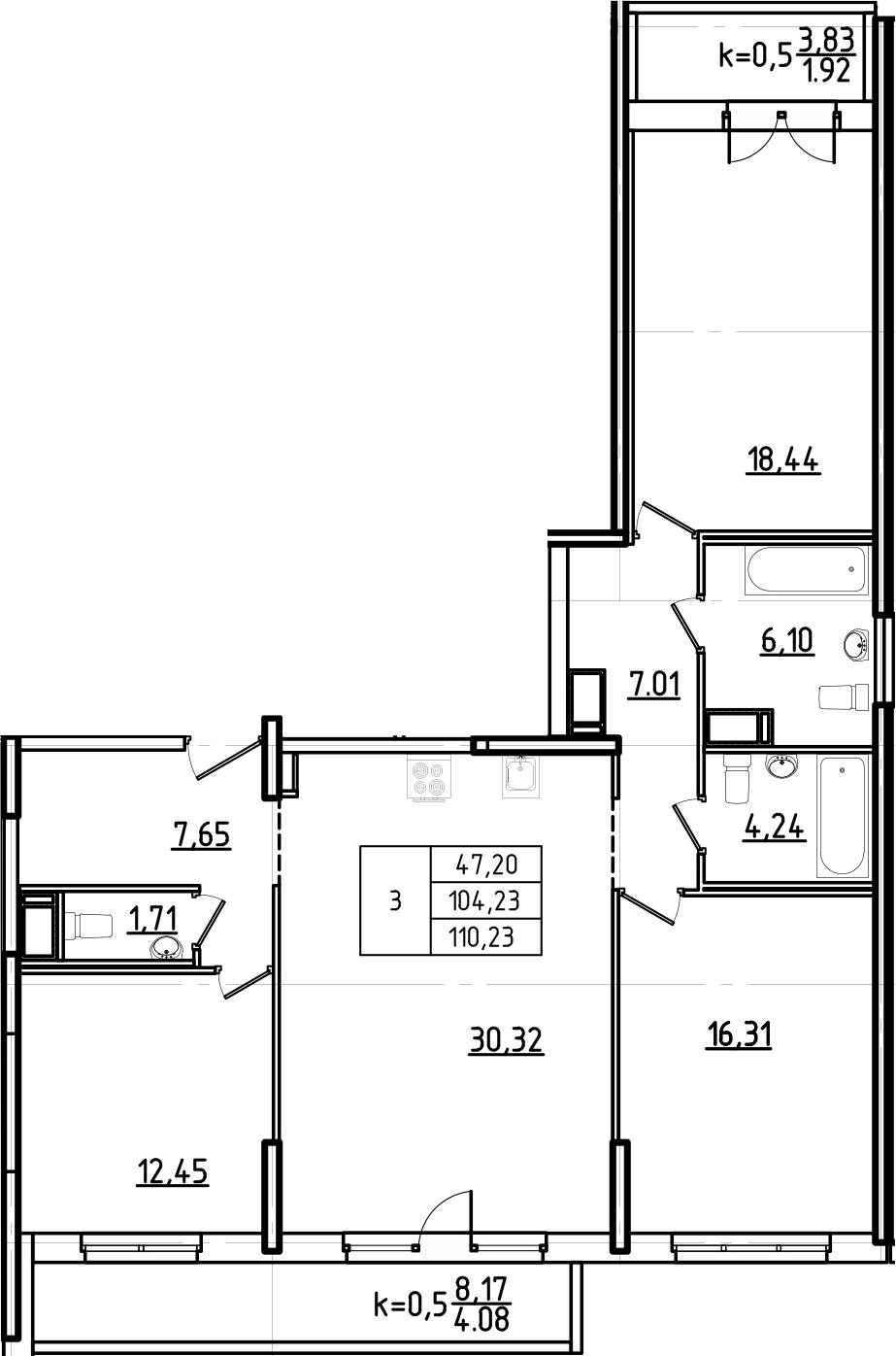 4Е-комнатная, 110.23 м²– 2
