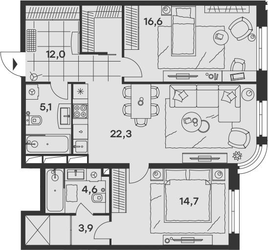 3Е-к.кв, 79.2 м², 12 этаж