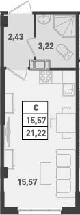 Студия, 21.22 м²