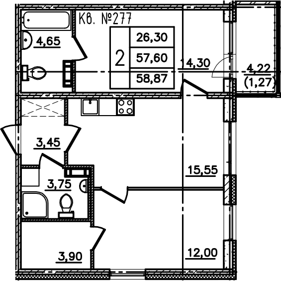 3-к.кв (евро), 61.83 м²