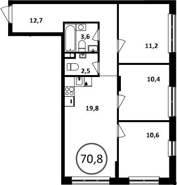4Е-комнатная, 70.8 м²– 2