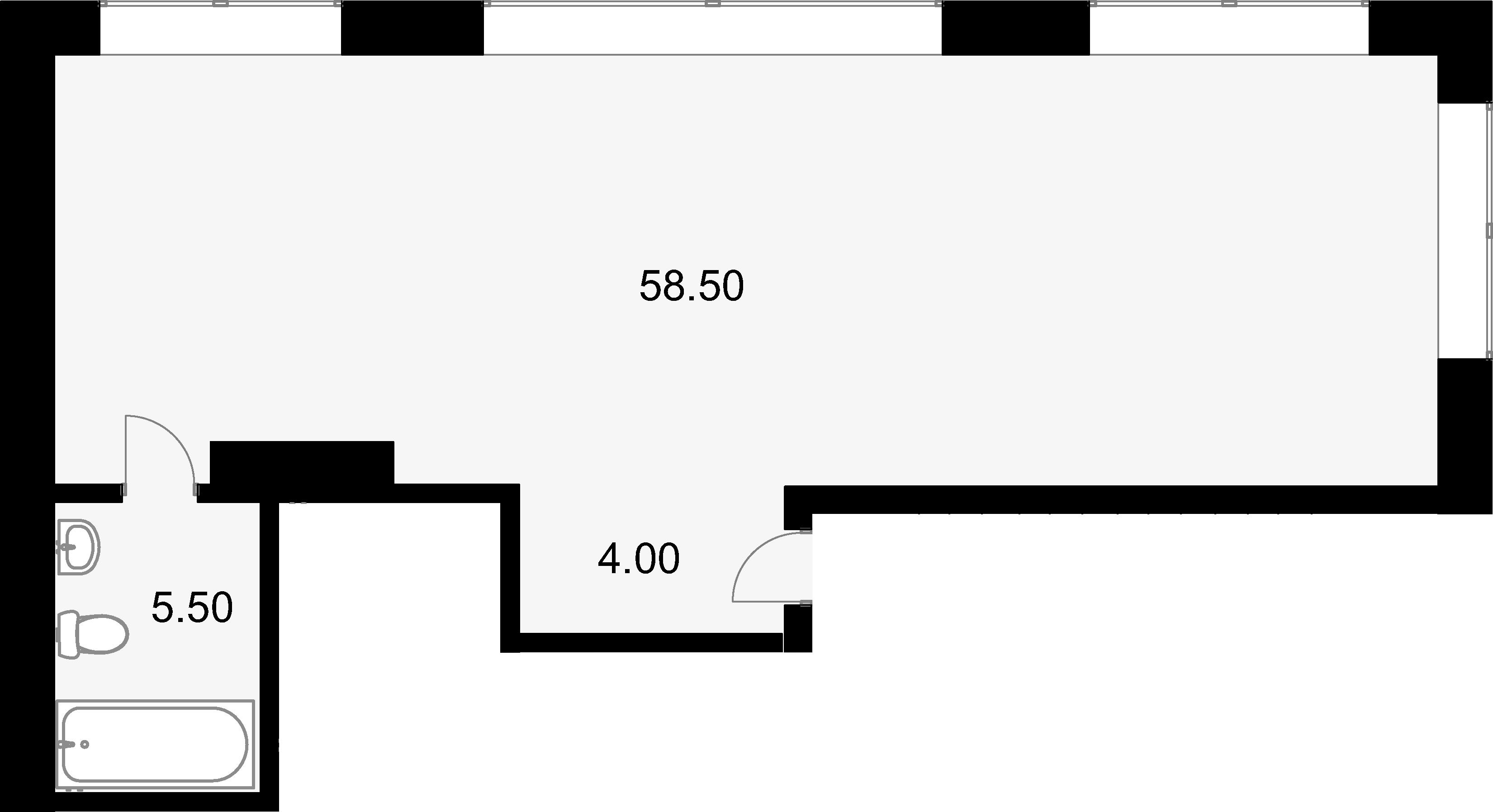 Своб. план., 67.1 м², 2 этаж