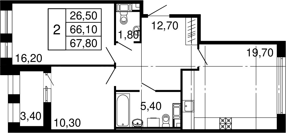 3Е-к.кв, 66.1 м², 10 этаж