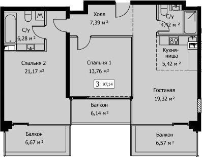 3Е-комнатная, 97.14 м²– 2