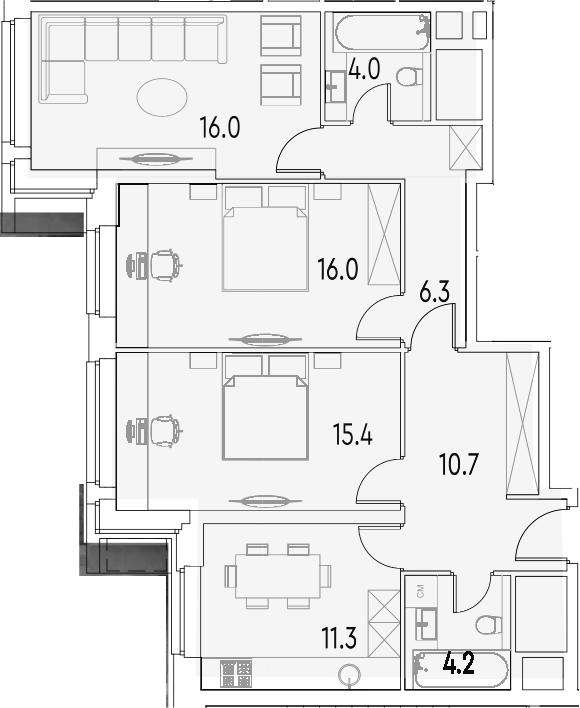 3-к.кв, 83.9 м²