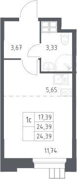 Студия, 24.39 м²– 2