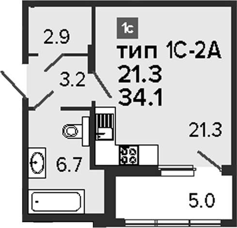 Студия, 39.1 м²