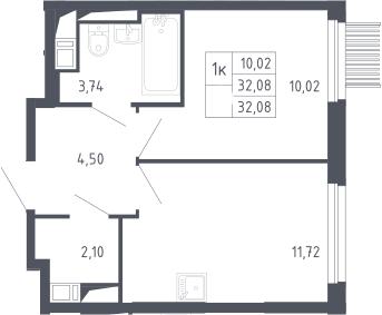 1-к.кв, 32.08 м², 17 этаж