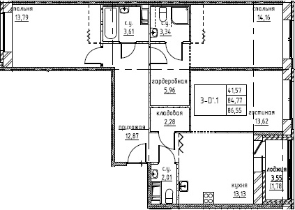 3-к.кв (евро), 88.33 м²