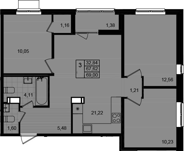 4Е-к.кв, 69 м²