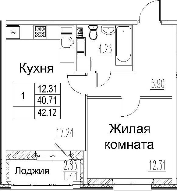 2-к.кв (евро), 43.53 м²