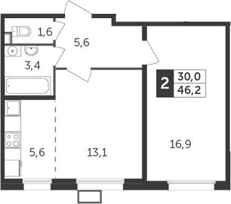 2Е-к.кв, 46.2 м², 5 этаж