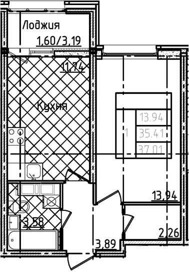 1-к.кв, 37.01 м²