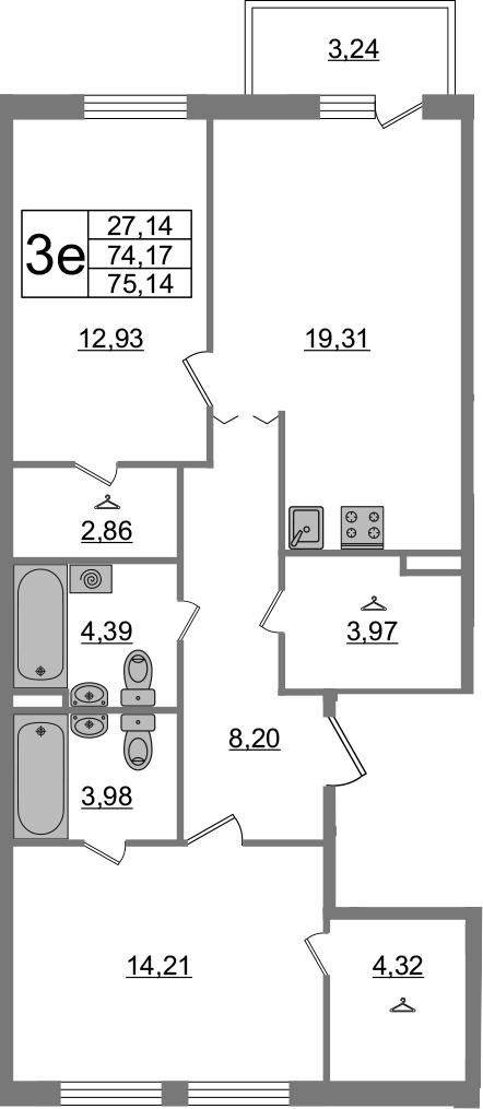 3Е-к.кв, 75.14 м², 2 этаж