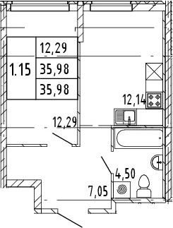 1-комнатная, 35.98 м²– 2