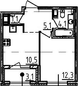 1-к.кв, 34.7 м², 6 этаж