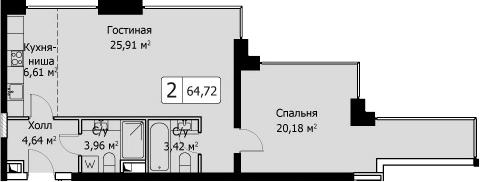 2-к.кв (евро), 64.72 м²