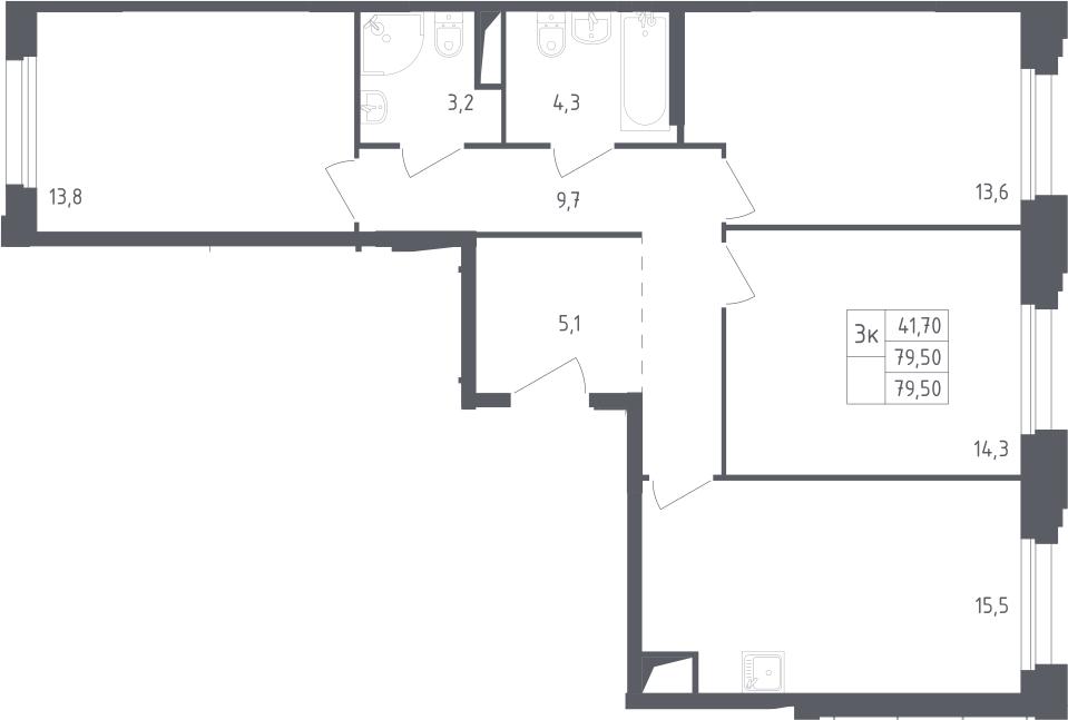4Е-к.кв, 79.5 м²